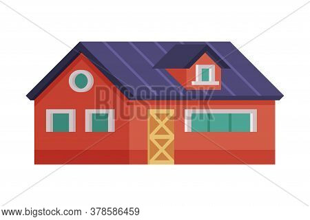 Red Country House, Rural Cottage Facade Cartoon Vector Illustration On White Background