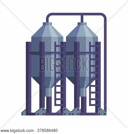Silo Storehouse For Grain Storage Agricultural Building Cartoon Vector Illustration
