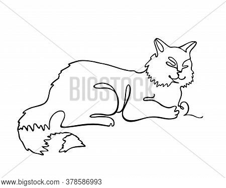 Cat One Line Drawing. One Continuous Line Drawing Of Cat For Company Logo Identity. Abstract Minimal