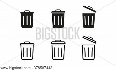 Set Of Trash Bin Icons In Outline And Bold Design. Garbage Rubbish Sign. Recycling Basket Container.