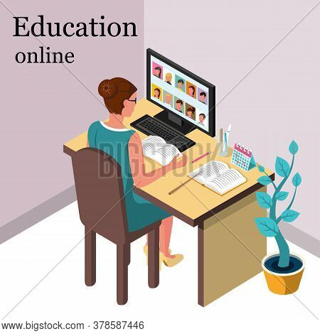 Professional Teacher Woman Sits In Front Of Computer Screen. Online Lesson. Vector Isometric 3d Bann