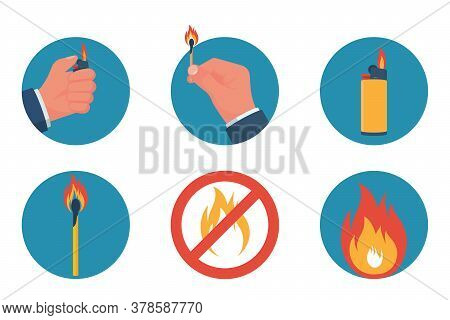 Color Icon Fire And Objects Of Ignition, Lighter And Matches. Items In Hands Are Isolated On White B