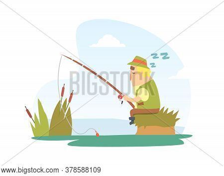 Fisherman Snoozing Sitting On Lake Shore With Fishing Rod Cartoon Vector Illustration
