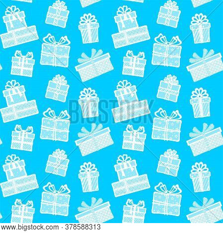 White Gift Boxes With Different Patterns, Ribbons And Bows On A Blue Background. Vector Seamless Pat