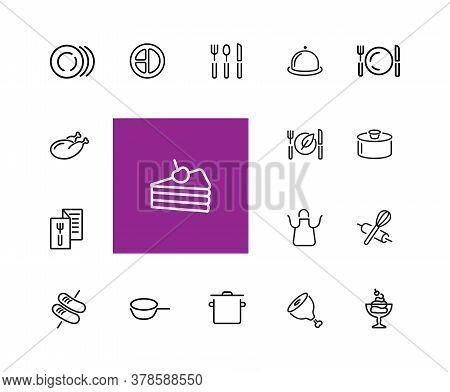 Cooking Icons. Set Of Line Icons. Plate, Saucepan, Menu. Food Preparation Concept. Illustration Can
