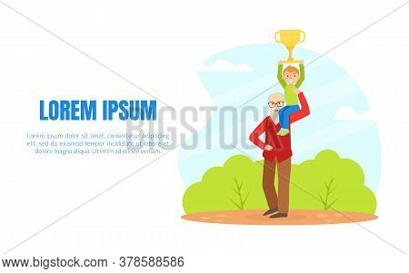 Happy Boy Celebrating Win With Grandfather, Child Holding Trophy Cup While Sitting On Grandpa Should