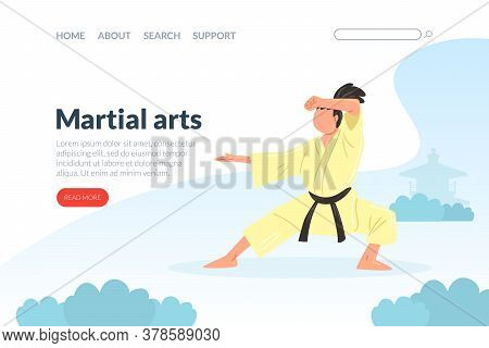 Martial Arts Landing Page Template, Karate, Judo, Taekwondo, Aikido School Website, Homepage Design,