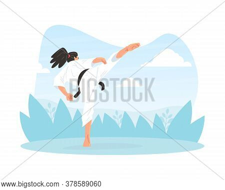 Male Martial Art Fighter Character Wearing White Kimono Performing High Kick Outdoors Cartoon Vector