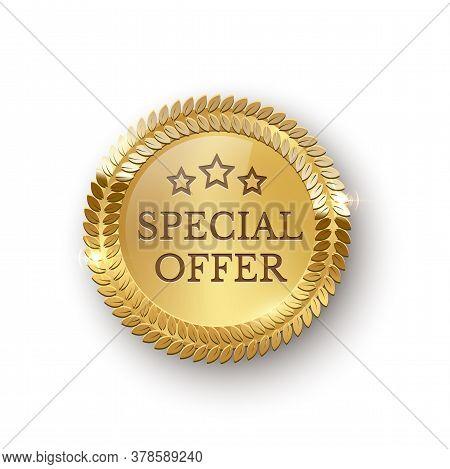 Vector Realistic Illustration Of Golden Medallion Laurel Wreath, Stars, Sign Special Order. Advertis
