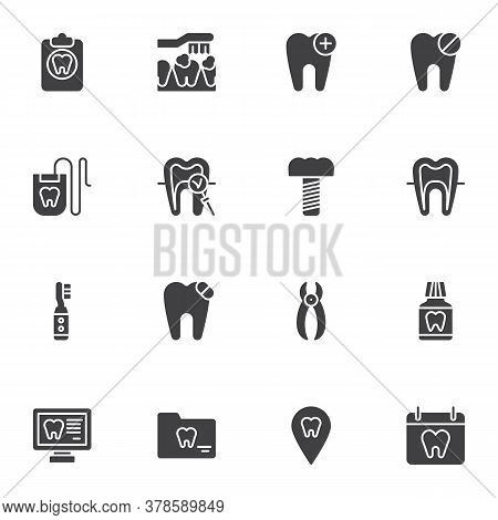 Dentistry Vector Icons Set, Modern Solid Symbol Collection, Filled Style Pictogram Pack. Signs, Logo