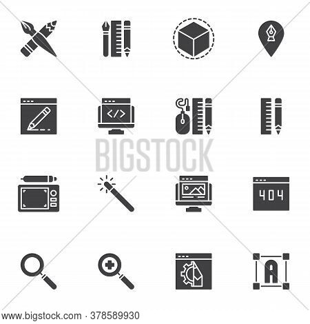 Graphic Design Vector Icons Set, Modern Solid Symbol Collection, Filled Style Pictogram Pack. Signs,