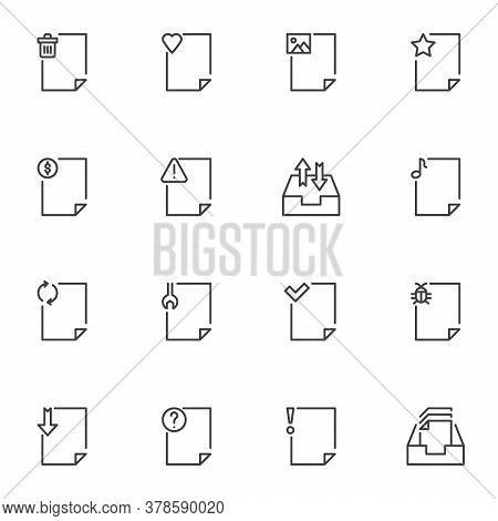 Document File Line Icons Set, Outline Vector Symbol Collection, Linear Style Pictogram Pack. Signs L