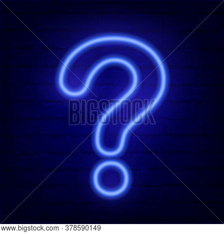 Neon Blue Question Mark On Dark Brick Wall. Cinema, Show, Theatre, Circus, Casino Design. Intellectu