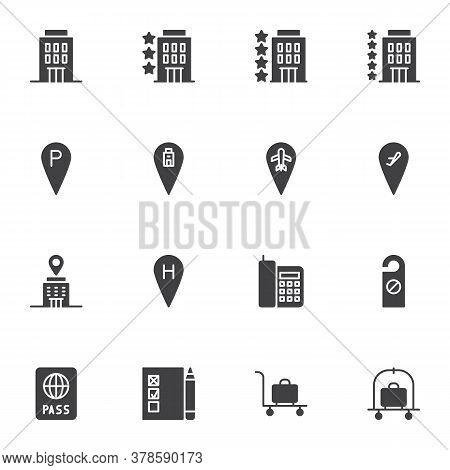 Hotel Service Vector Icons Set, Modern Solid Symbol Collection, Filled Style Pictogram Pack. Signs L