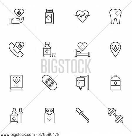 Medicine And Health Line Icons Set, Outline Vector Symbol Collection, Linear Style Pictogram Pack. S