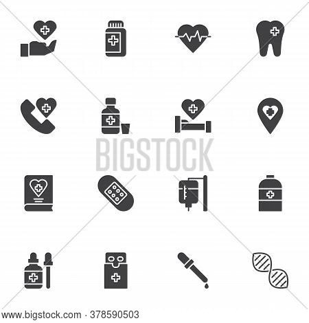 Medicine And Health Vector Icons Set, Modern Solid Symbol Collection, Filled Style Pictogram Pack. S