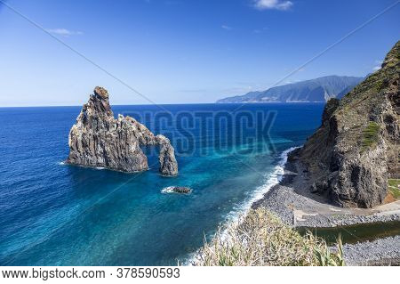 View Over The Stony Beach Of Sao Vicente On The Portugese Island Of Madeira In Summer