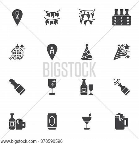 Party Birthday Celebration Vector Icons Set, Modern Solid Symbol Collection, Filled Style Pictogram