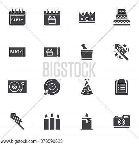 Party Related Vector Icons Set, Modern Solid Symbol Collection, Filled Style Pictogram Pack. Signs,