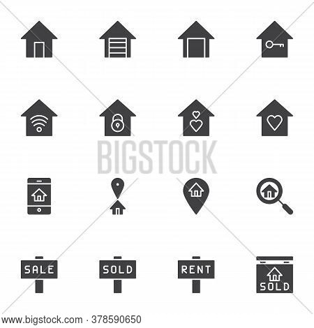Real Estate Vector Icons Set, Modern Solid Symbol Collection, Filled Style Pictogram Pack. Signs, Lo