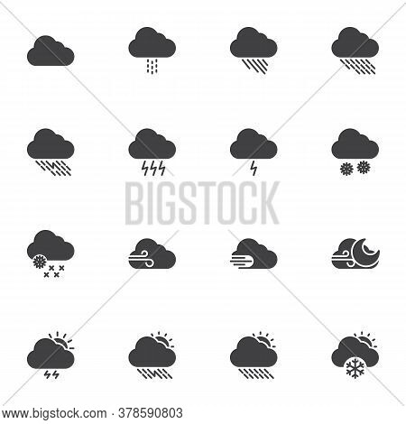 Weather Cloud Vector Icons Set, Modern Solid Symbol Collection, Filled Style Pictogram Pack. Signs L
