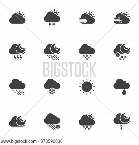 Weather Vector Icons Set, Modern Solid Symbol Collection, Filled Style Pictogram Pack. Signs, Logo I
