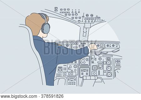 Work, Industry, Transportation, Flight Concept. Young Man Or Guy Pilot Cartoon Character In Uniform