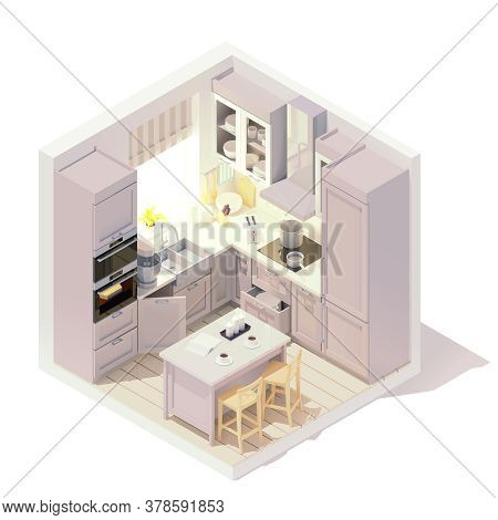 Vector Isometric Kitchen Interior Cross-section With Kitchen Island, Cabinets, Chairs, Other Furnitu