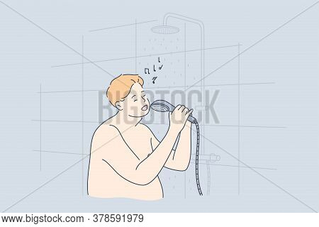 Performance, Fun, Music, Obesity Concept. Young Fat Obese Thick Man Guy Cartoon Character Standing N