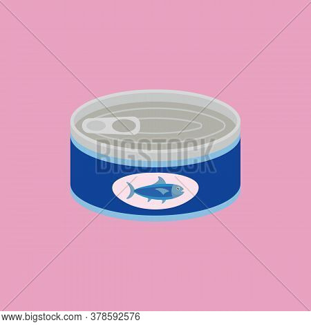 Canned Tuna In Flat Style. Vector Illustration