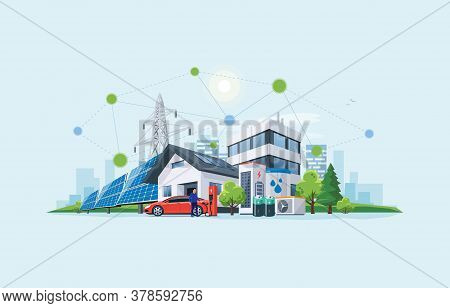 Smart Renewable Energy Power Grid System. Off-grid Building City Battery Storage Sustainable Island