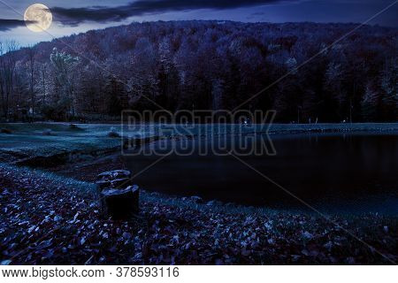 Small Lake In Autumn Park At Night. Forest On The Hills In Fall Colors In Full Moon Light. Green Gra