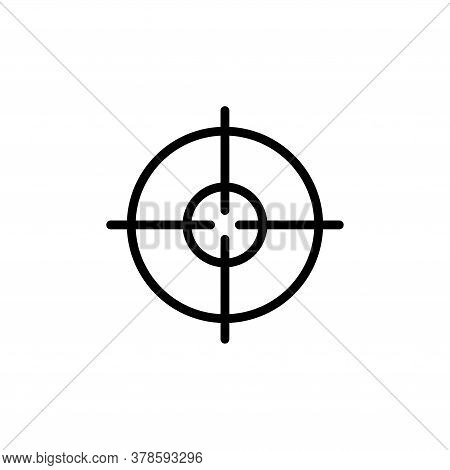 Target, Crosshair, Geo Positioning Gps. Flat Vector Icon Illustration. Simple Black Symbol On White