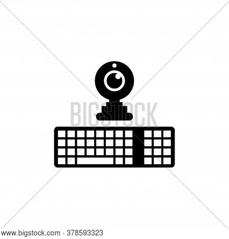 Computer Keyboard And Webcam For Chat. Flat Vector Icon Illustration. Simple Black Symbol On White B
