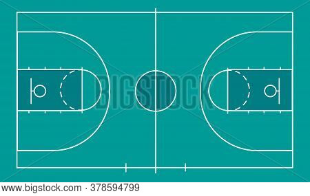 Isolated Basketball Field For Ball Game On A Blue Field. Competitive Sport On The Site. Stadium With