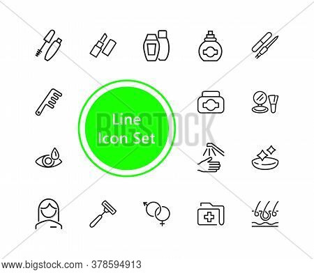 Healthcare And Beauty Icons. Set Of Line Icons. Woman, Cosmetics, Hairdressing. Healthcare And Beaut