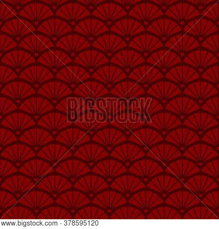 Geometric Seamless Vintage Pattern With Fans, Abstract Pattern In Chinese Style