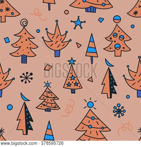 Christmas Tree Doodles Seamless Pattern For Greeting Cards Or Banners. Hand Drawn Print With Christm