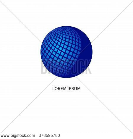 Communication Logo, Networking Icon With Blue Sphere, Business Logo, Telecommunications Symbol