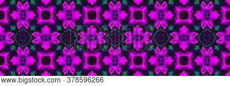 Dark Asphalt Neon. Ikat Mandala Palm Cyberpunk Texture. Dark Asphalt Neon Background. Lilac Portugal