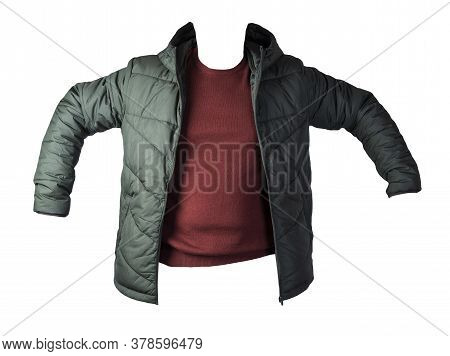 Dark Green Jacket And Dark Red Sweater Isolated On White Background.bologna Jacket And Wool Sweater