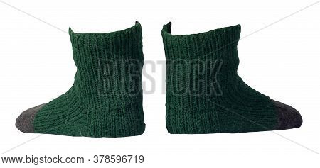 Woolen Dark Green , Gray, Socks Isolated On A White Background. Winter Accessories