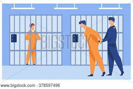Criminals In Jail Concept. Guard Officer Escorting Prisoner To Prison Room. Vector Illustration For
