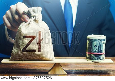 A Man Puts Polish Zloty Money Bag On The Scales Opposite To The Dollar. Investments In Foreign Curre