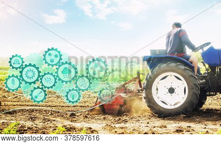 Farmer On A Tractor Cultivates A Farm Field And Technological Innovation Gears Hologram. Science Of