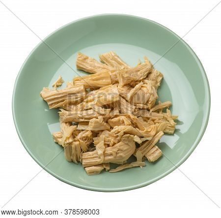 Soy Asparagus Noodles On A Plate, Isolated On A White Background. Healthy Food . Asian Food. Soy Asp