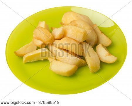 Fried Potato Wedges On A Plate. Fried Potato Veggies Isolated On White Background. Rustic Food Top V