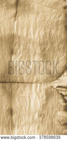 Ripped Parchment. Brown Tie Dye Textile. Organic Parchment Dyed Decoration. Beige Ivory. Rough Dyed