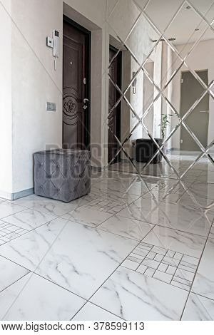 Doors In Modern Entrance Hall Of Corridor In Expensive Apartments. Modern Wooden Looking Front Door,
