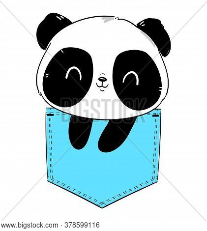 Hand Drawn Panda Sitting In A Pocket. Sketch Graphic Illustration Panda Bear. Vector Stock. Element